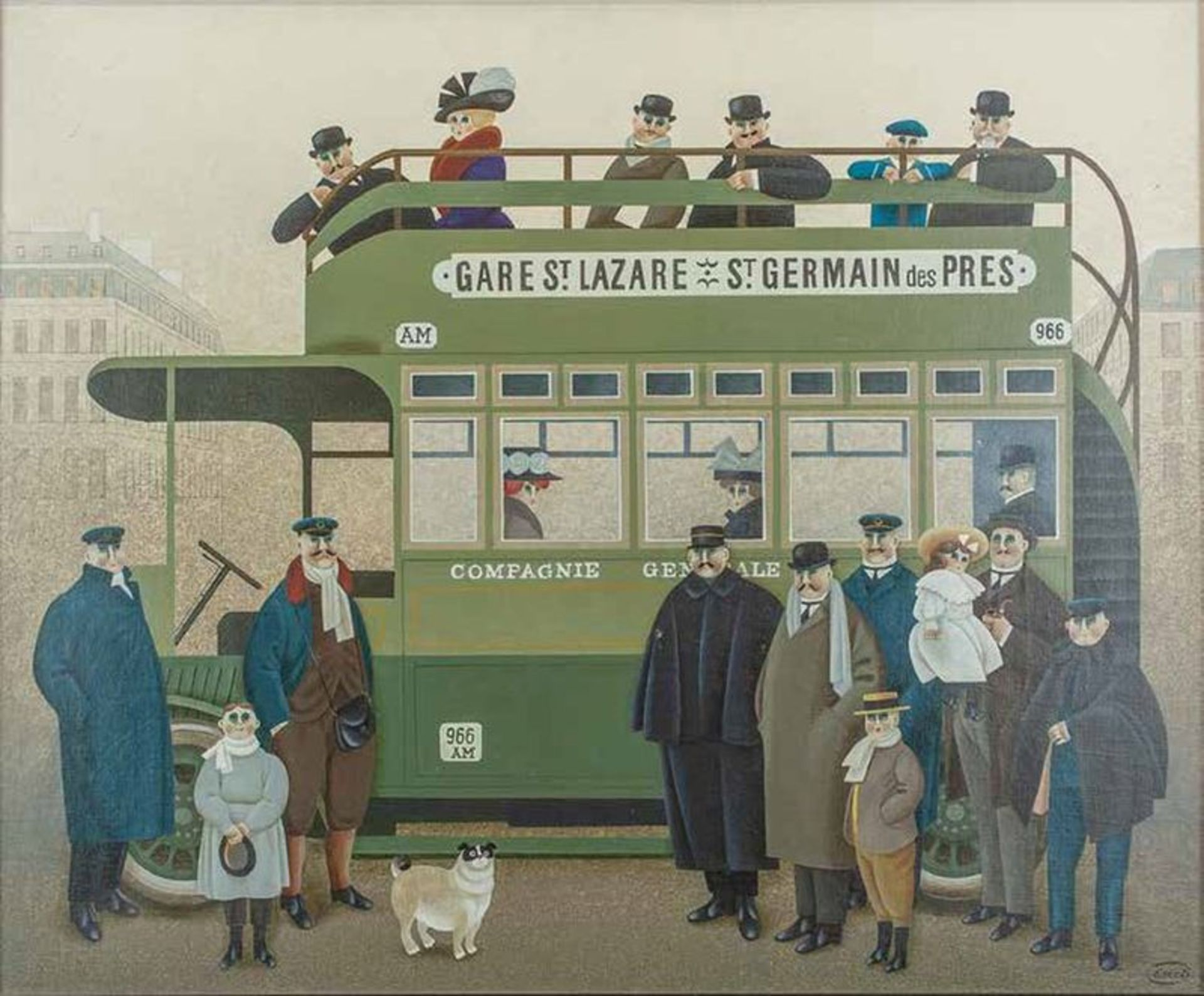 Los 532 - Jan BALET (1913-2009) In a bus - Signed (lower right) Oil on gauze laid on [...]