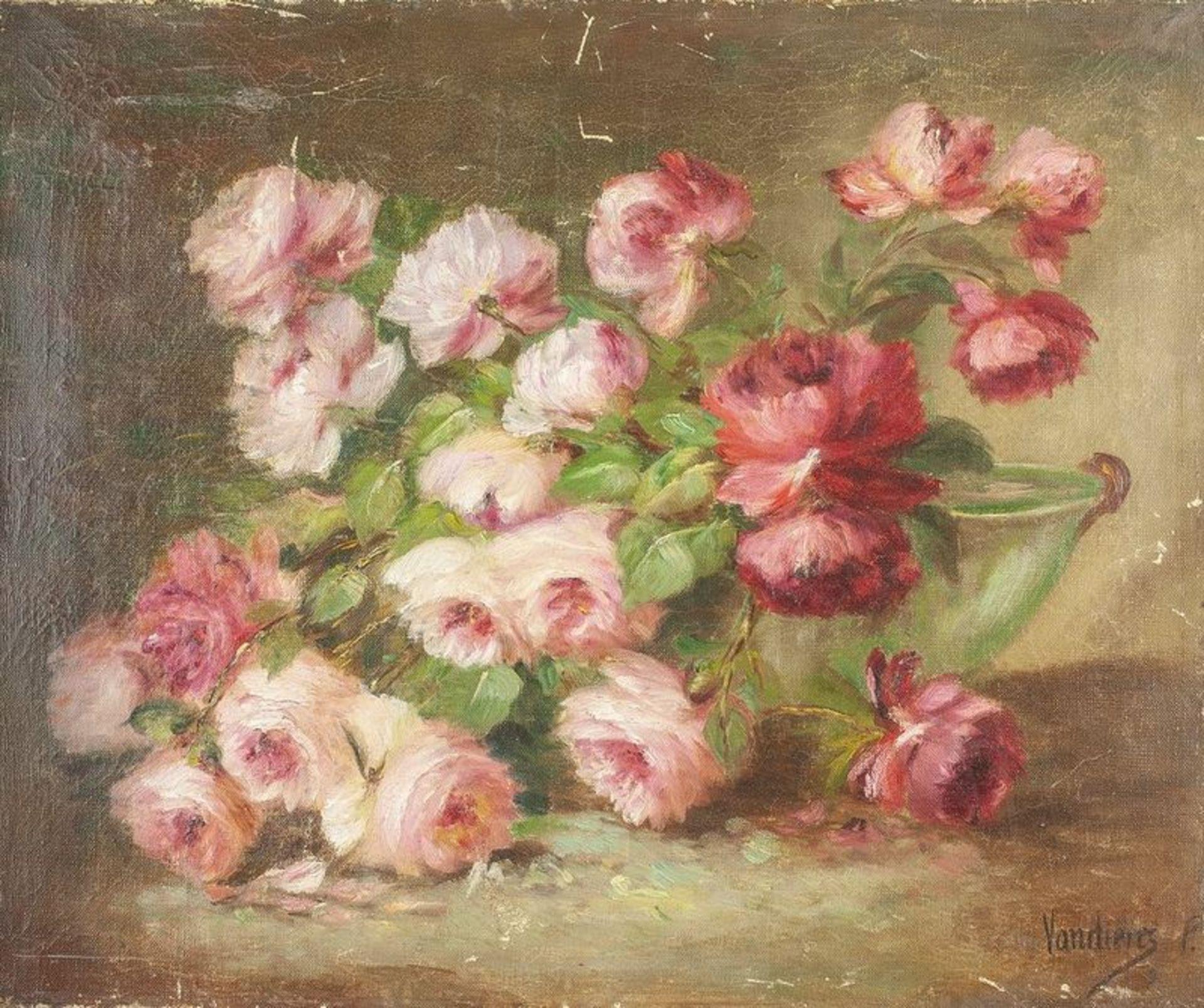 Los 607 - P. VANDERIES Peonies - Signed 'Vandieres P.' (lower right) Oil on canvas 46 x [...]