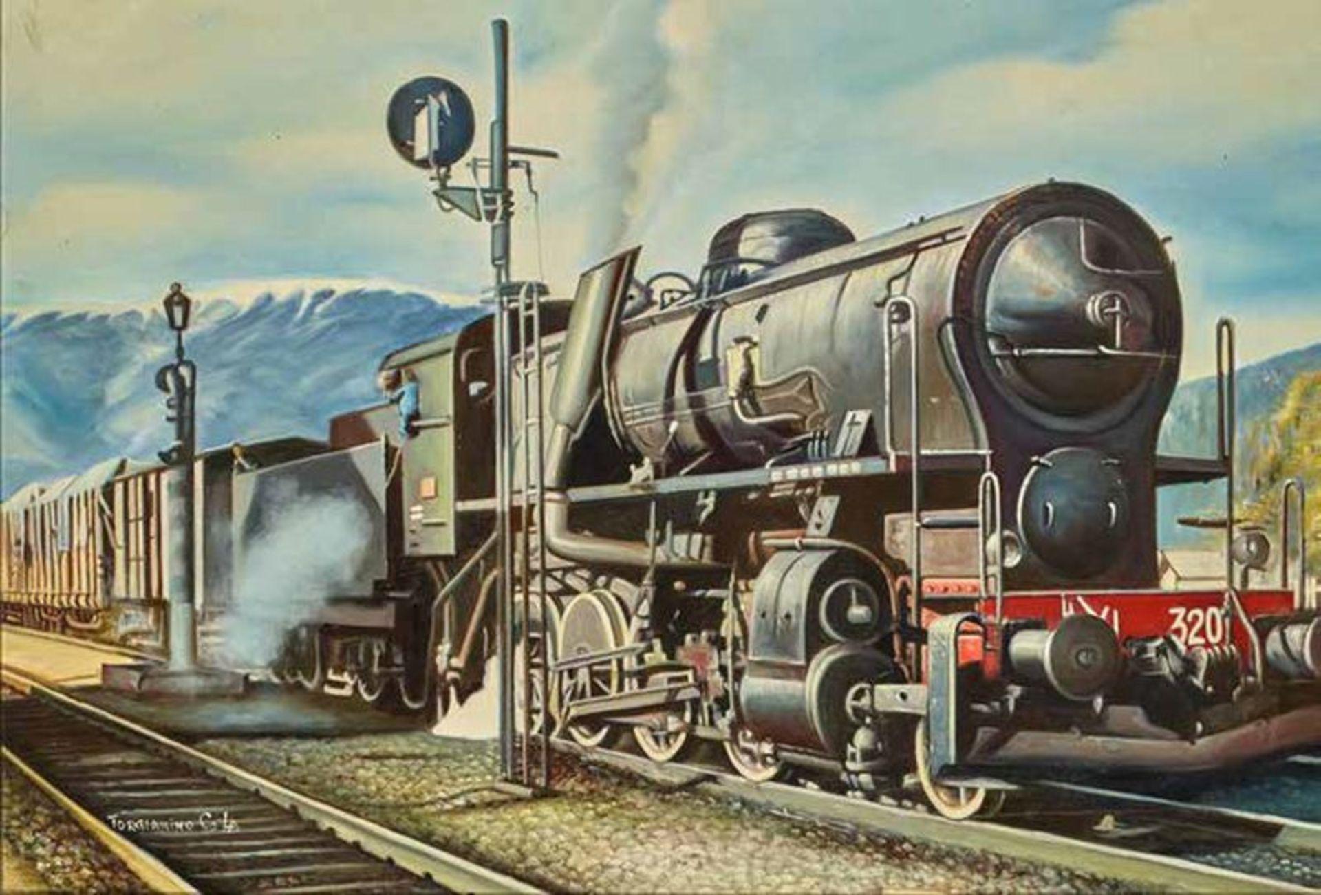 Torgianino C. Locomotive - signed 'Torgianino Co La' Oil on canvas 60 x 90 cm - [...]