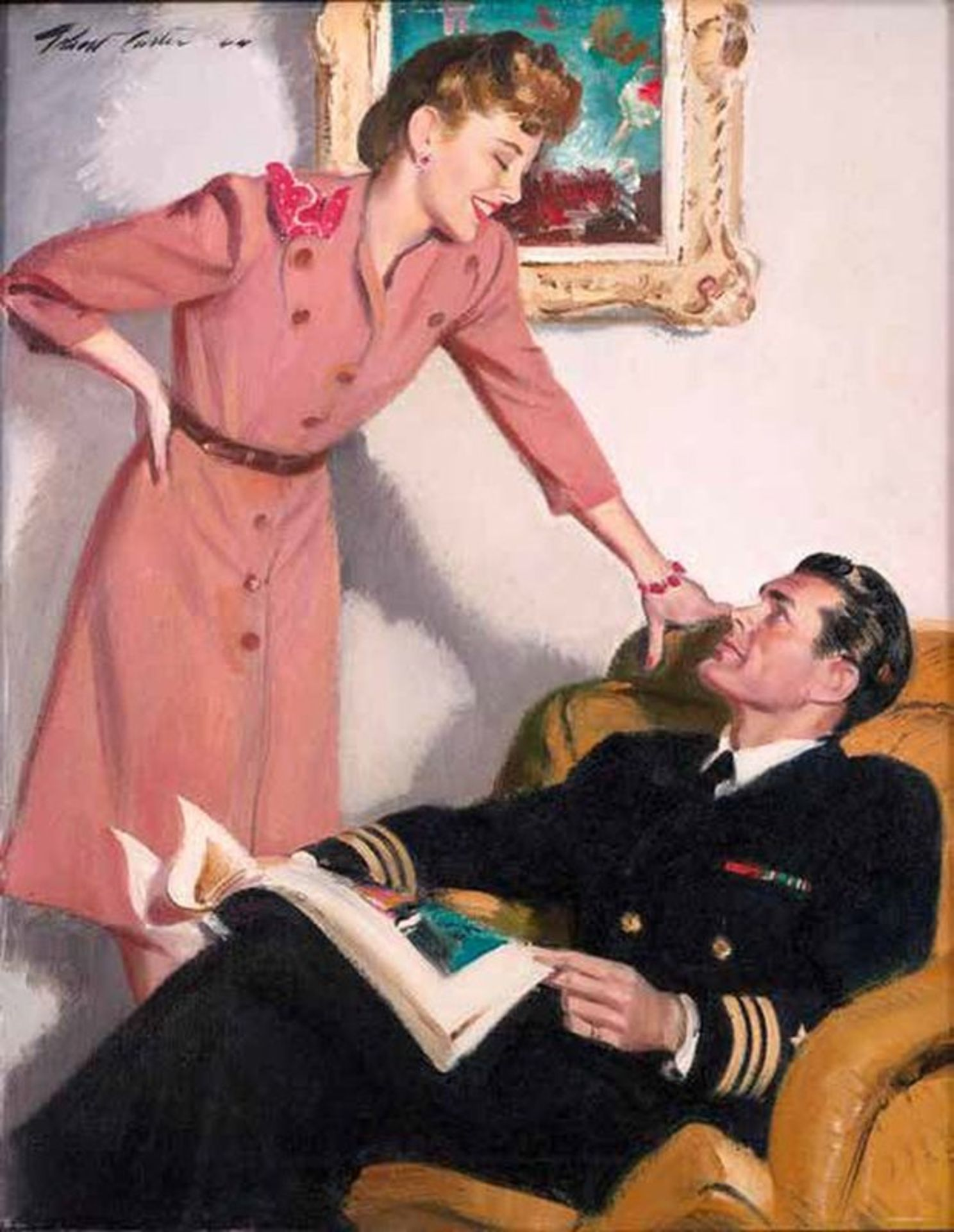 Pilot with a magazine - Signed (upper left) Oil on panel Probably included in the [...]