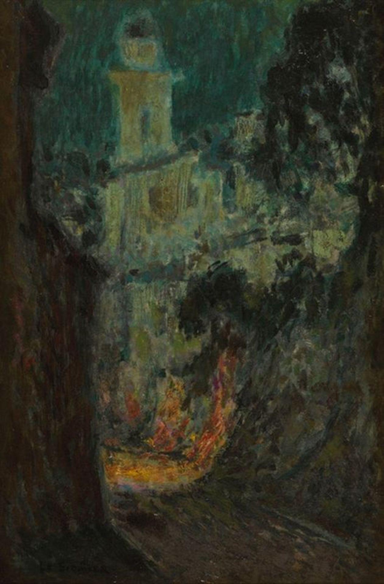 Los 508 - HENRI LE SIDANER (1862-1939) La rue au clair de lune, Villefranche-sur-Mer - [...]