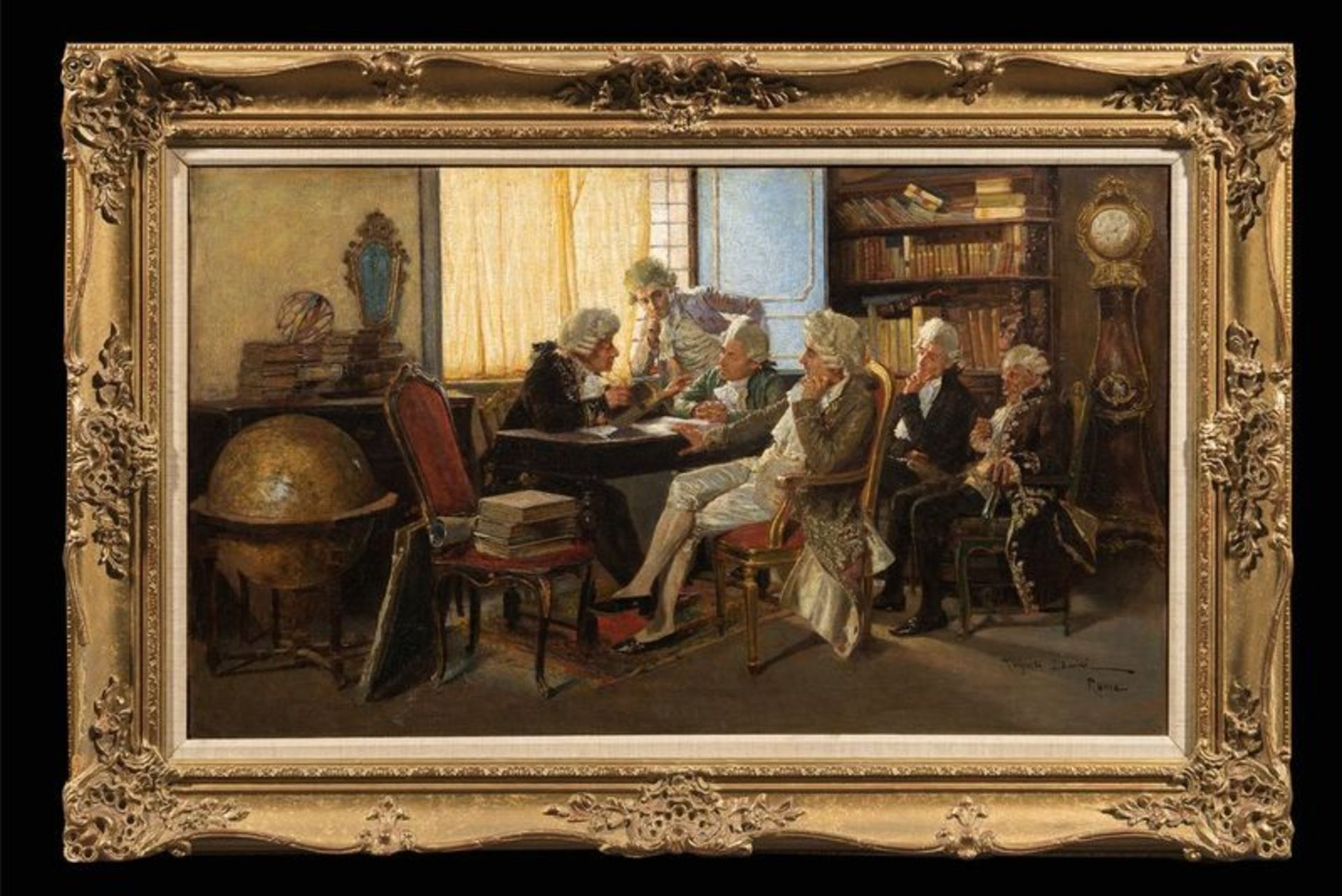 Los 520 - AUGUSTO DAINI (1860-1920) The Dilettanti Society in Rome, Italy - Signed [...]