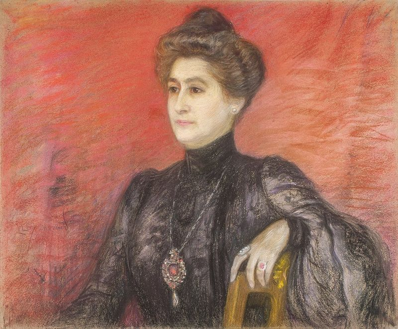 LUCIEN LÉVY-DHURMER (1865-1953) Portrait of a Noble lady - Pastel on board laid on [...]