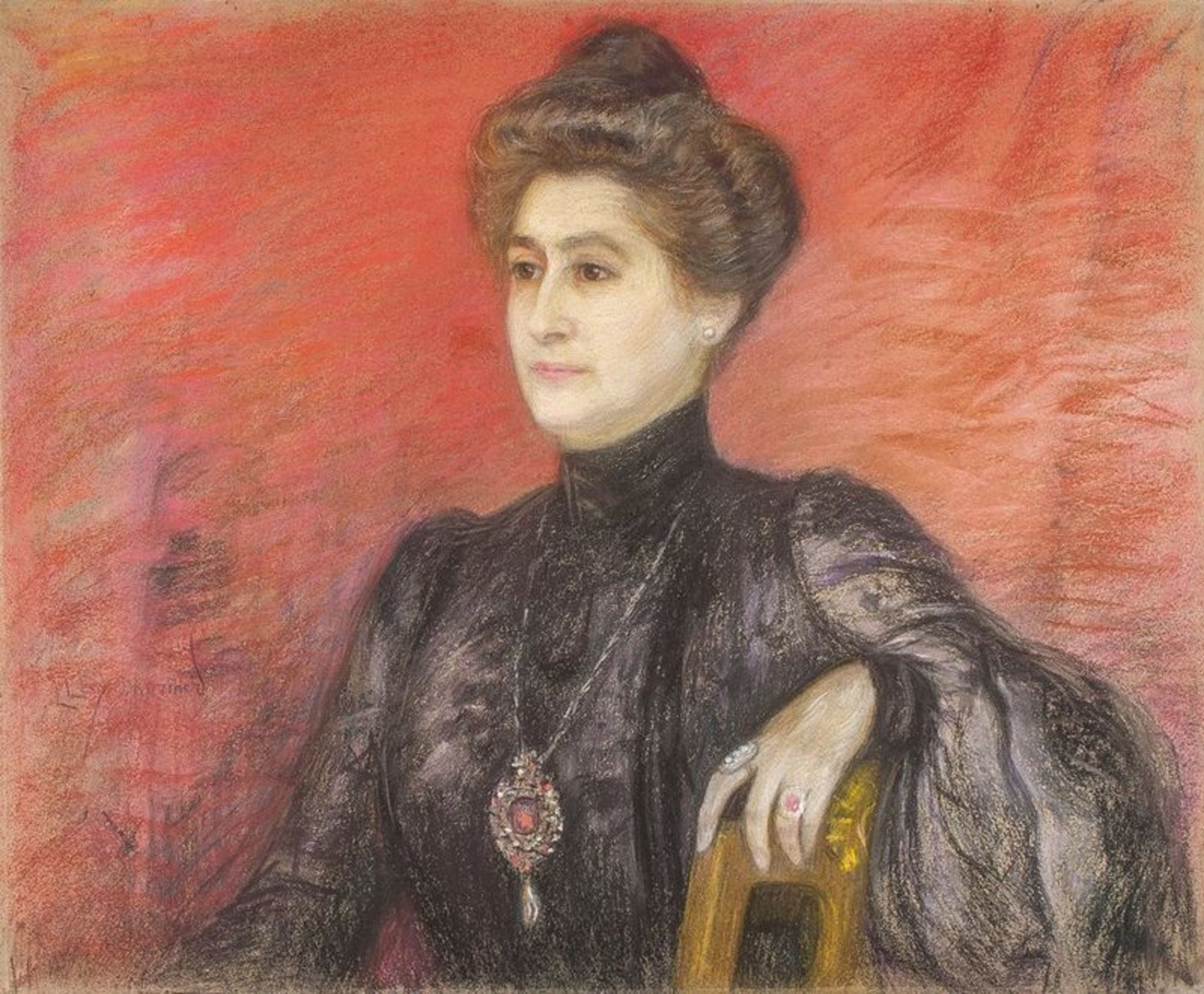 Los 613 - LUCIEN LÉVY-DHURMER (1865-1953) Portrait of a Noble lady - Pastel on board laid on [...]