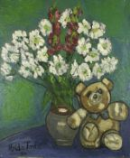 HYLDA TODE (XX) Still life with a toy - Signed 'Hylda Tode 90' Signed again, [...]