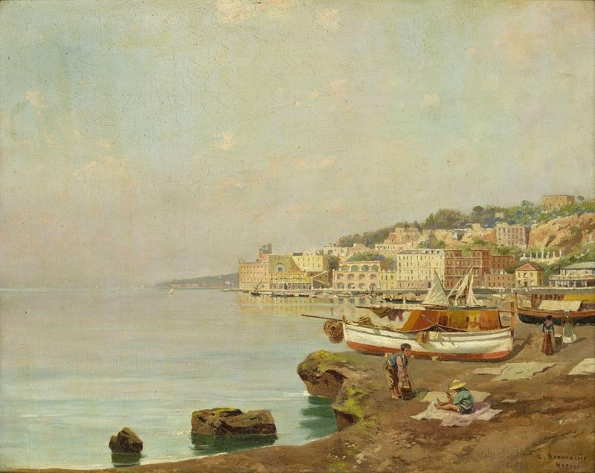 Los 504 - Carlo BRANCACCIO (1861-1920) View of Naples - Signed and inscribed 'C Brancaccio [...]