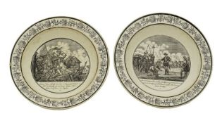 Two French Faience plates featuring scenes of French history Choisy-le-Roi pottery [...]
