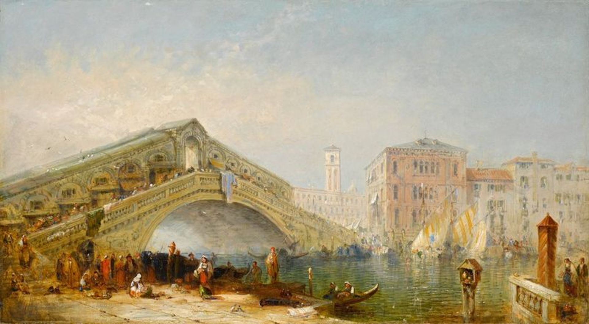 Los 502 - EUROPEAN SCHOOL, XIX CENTURY Grand Canal, Rialto Bridge and rich figural staffage - [...]