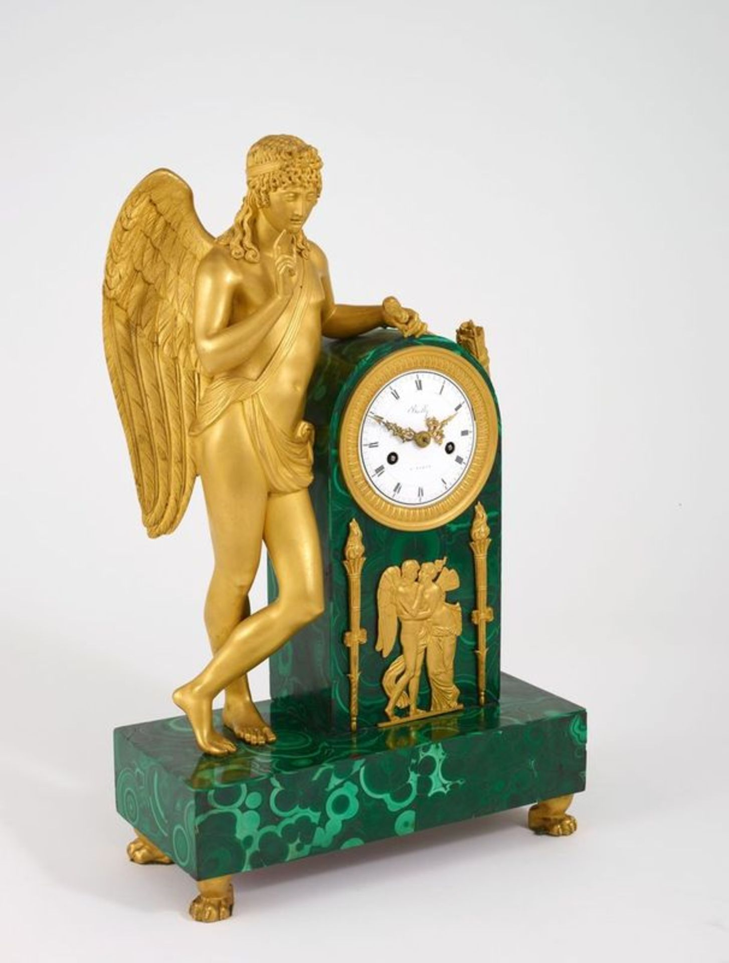 FRENCH ORMOLU, PATINATED-BRONZE AND MALACHITE MANTEL CLOCK, Early 19th century - [...]