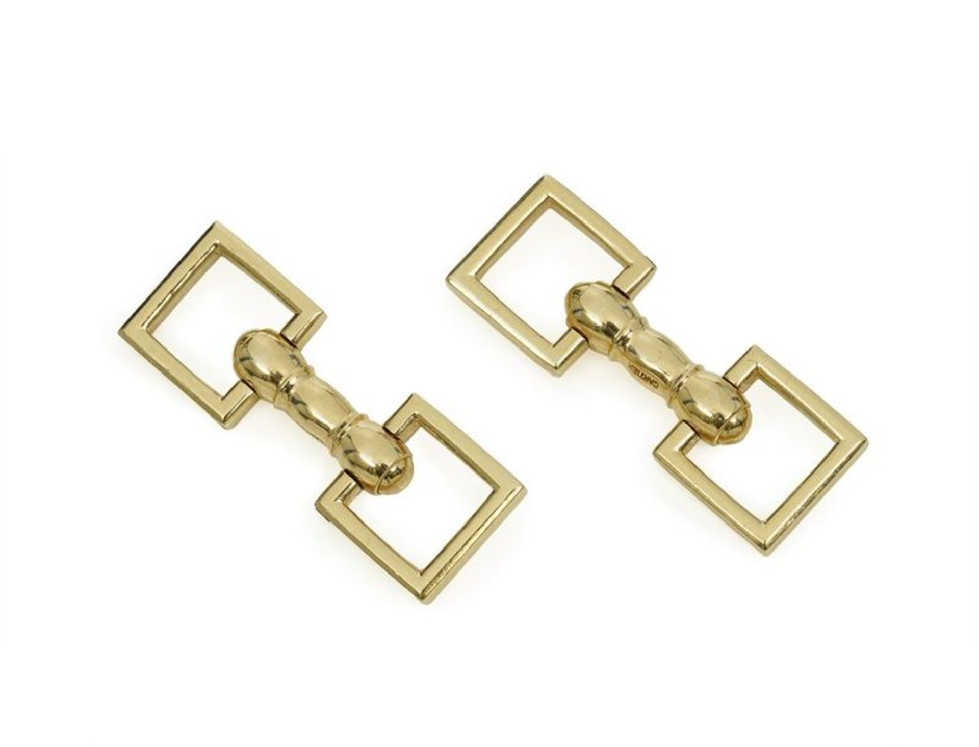 14K gold «anneaux de pont» cufflinks - gold Signed Cartier (NY) in a Cartier white [...]