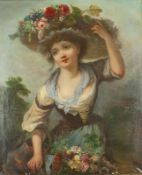 """Jackson Young girl with watering can and flower hat - Signed """"Jackson"""" (lower [...]"""