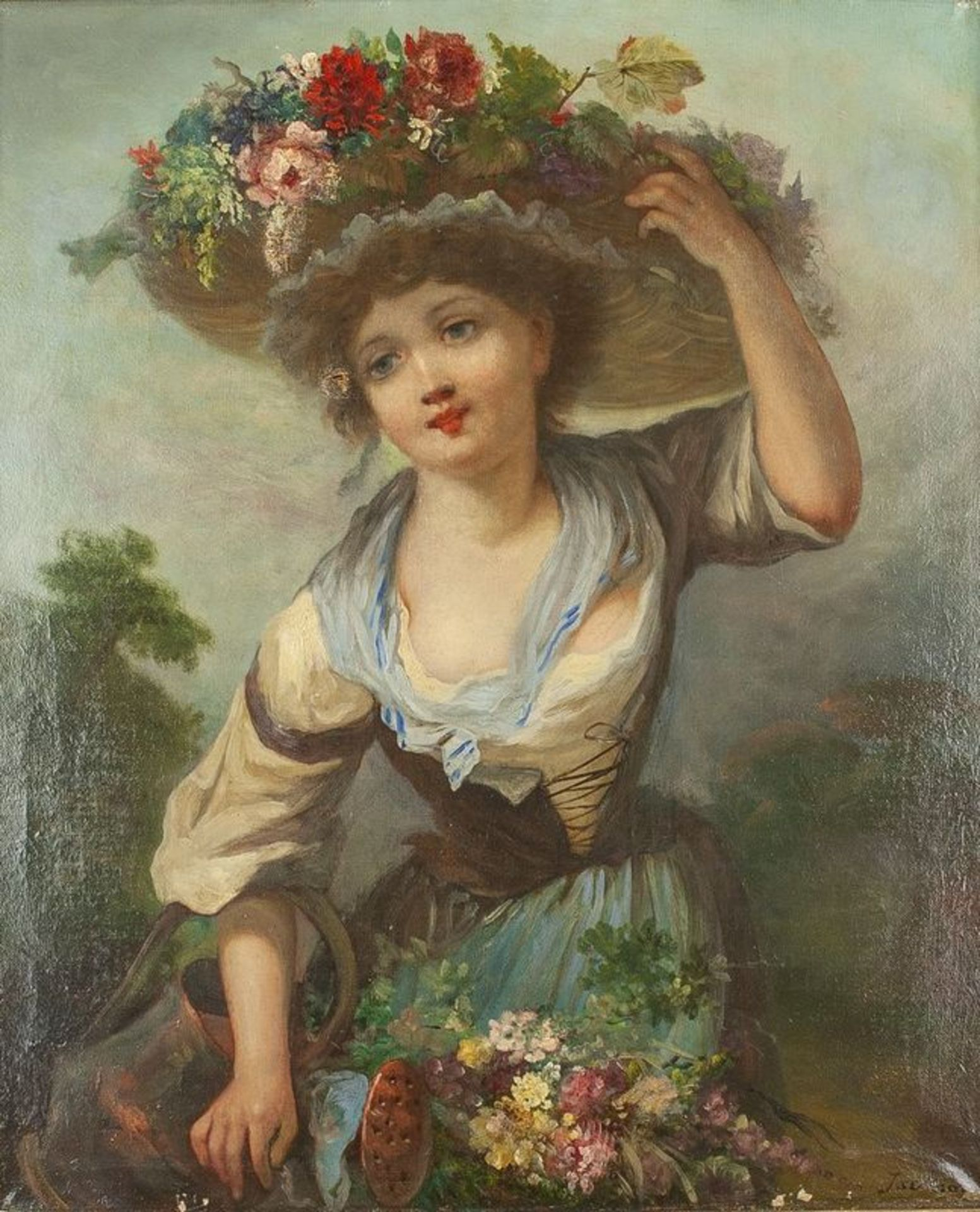 "Los 566 - Jackson Young girl with watering can and flower hat - Signed ""Jackson"" (lower [...]"