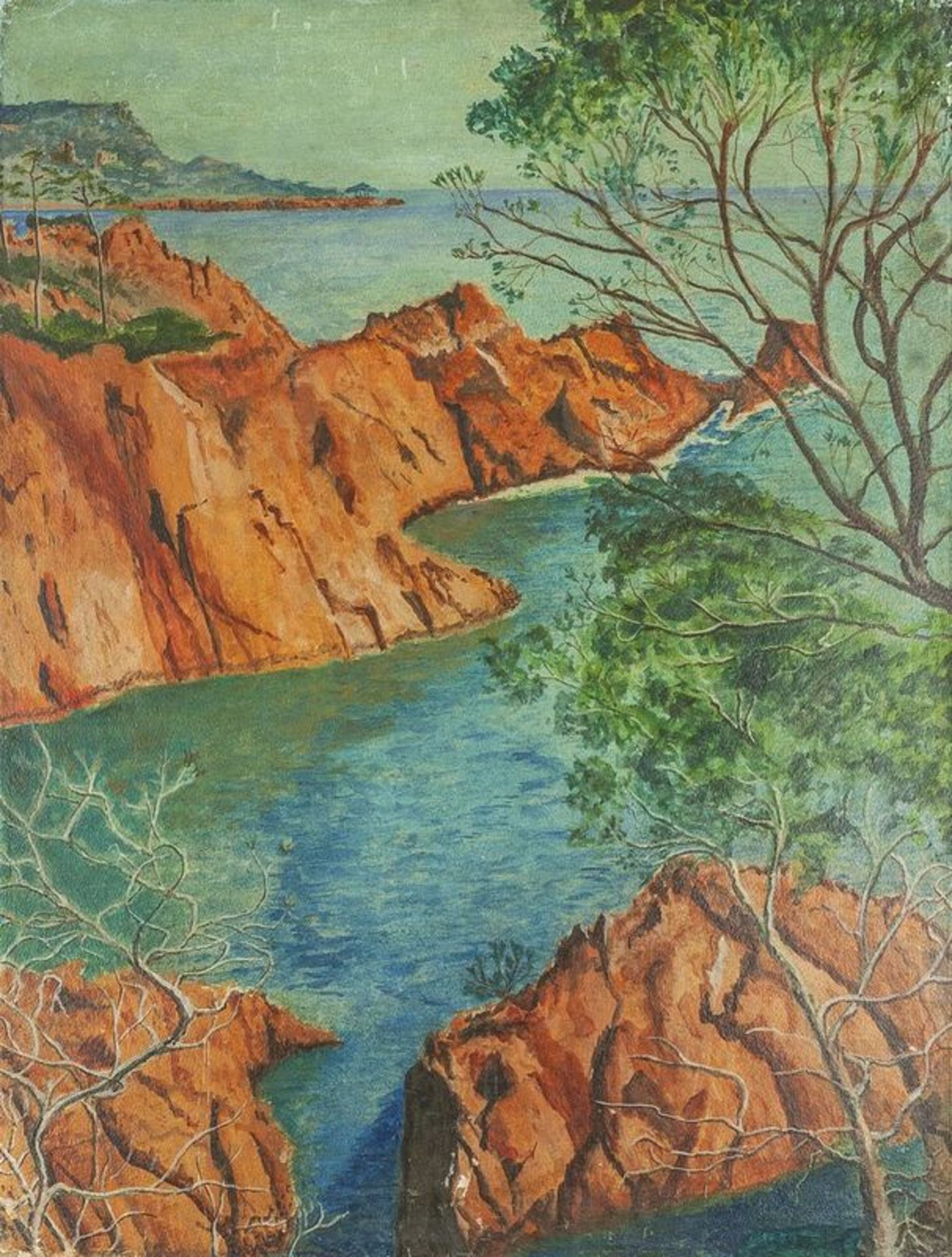 Los 600 - UNKNOWN ARTIST, French School, XX century Re rocks of Côte d'Azur - Oil on [...]