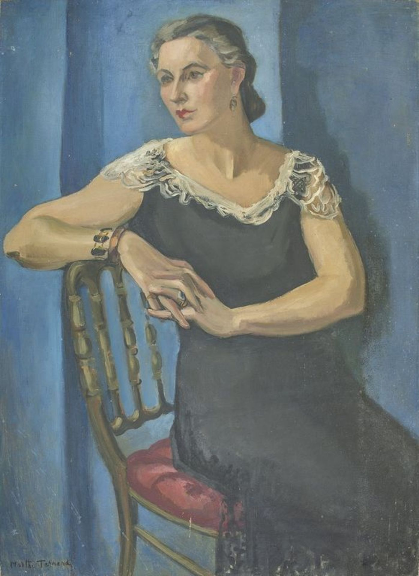 MARTHA TERNAND (1888-?) Portait of a lady in a blue dress - Signed 'Martha [...]