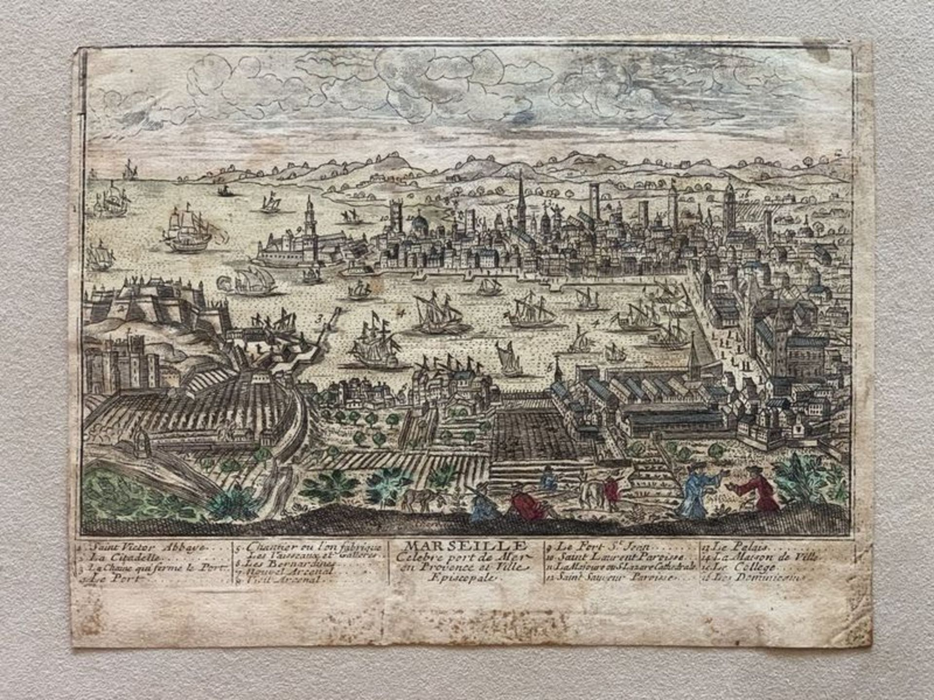 Los 571 - Unknown artist The view of Marseille. Beginning of the XVIII century. - Coloured [...]