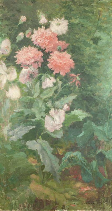 LÉOPOLDINE VILLOTEAU (XIX-XX) Flowers - Signed 'L Volloteau' (lower left) Oil [...]