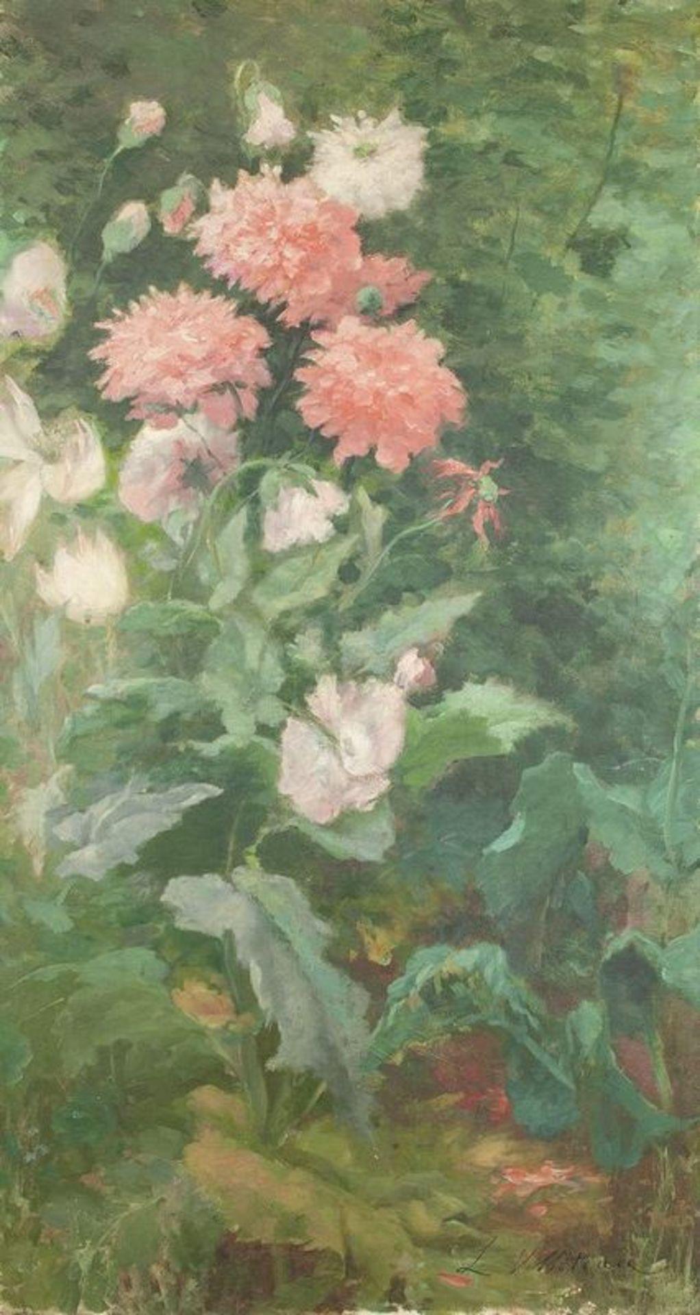 Los 612 - LÉOPOLDINE VILLOTEAU (XIX-XX) Flowers - Signed 'L Volloteau' (lower left) Oil [...]