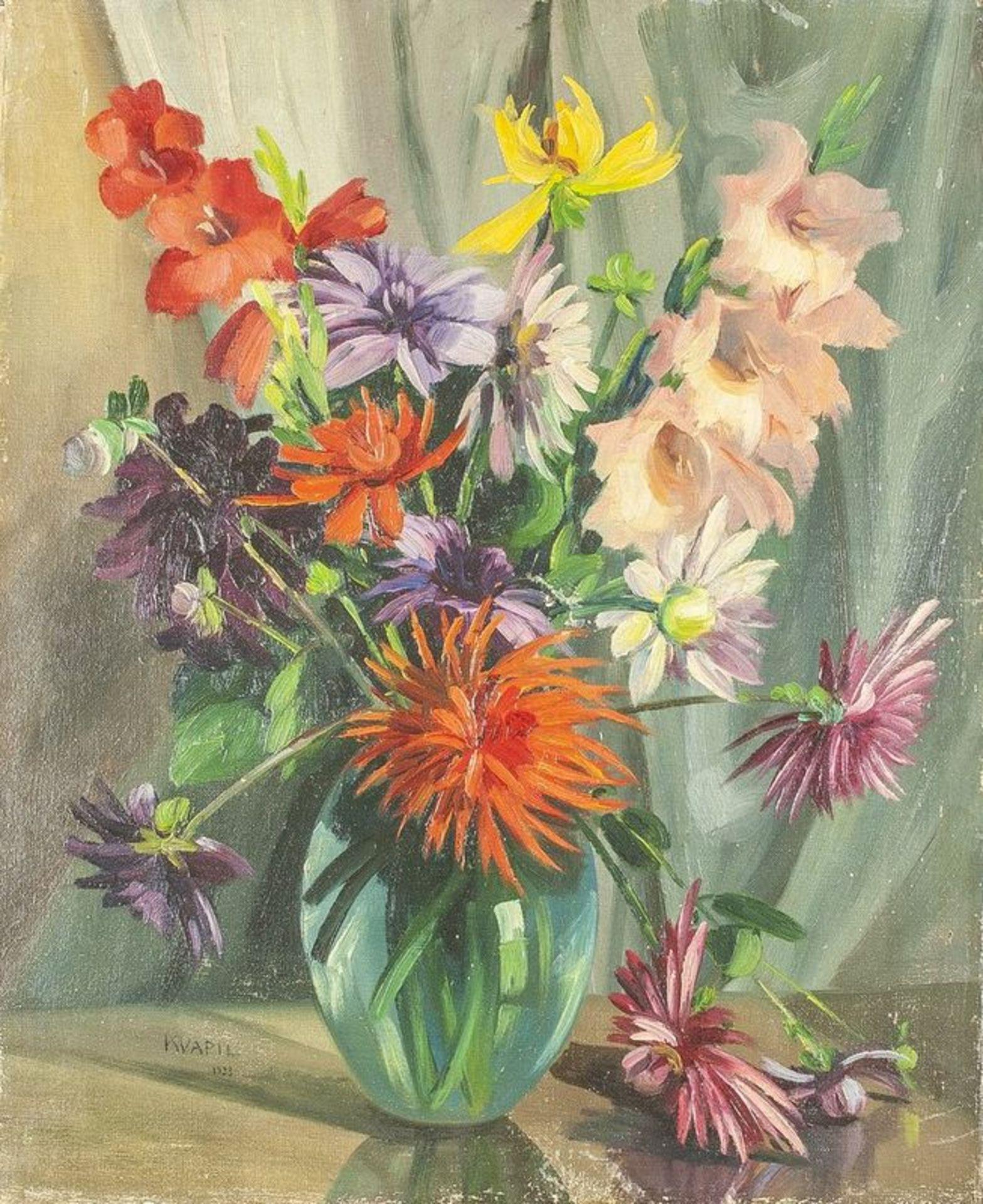 Los 608 - CHARLES KVAPIL (1884-1957) Flowers - Signed and dated 'Kvapil 1933' Oil on [...]