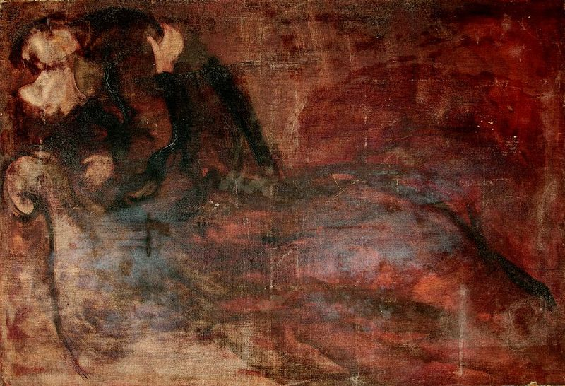 After Eugène Carrière (1849-1906) A kiss (Secret love) - Oil on canvas 130 x 90 [...]