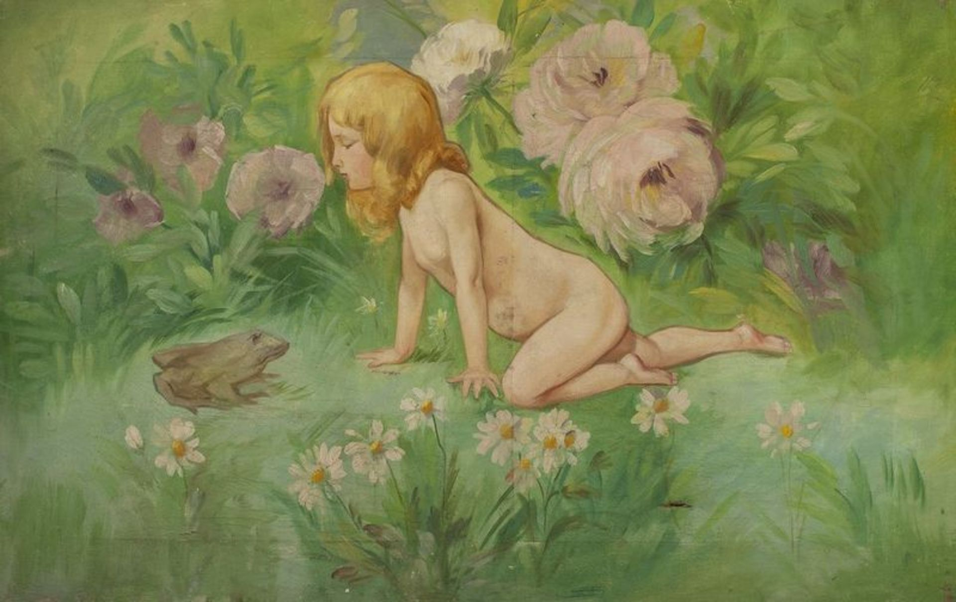 Los 606 - French school Girl with a frog - Signed with monogram ' IK' (upper right) Oil [...]