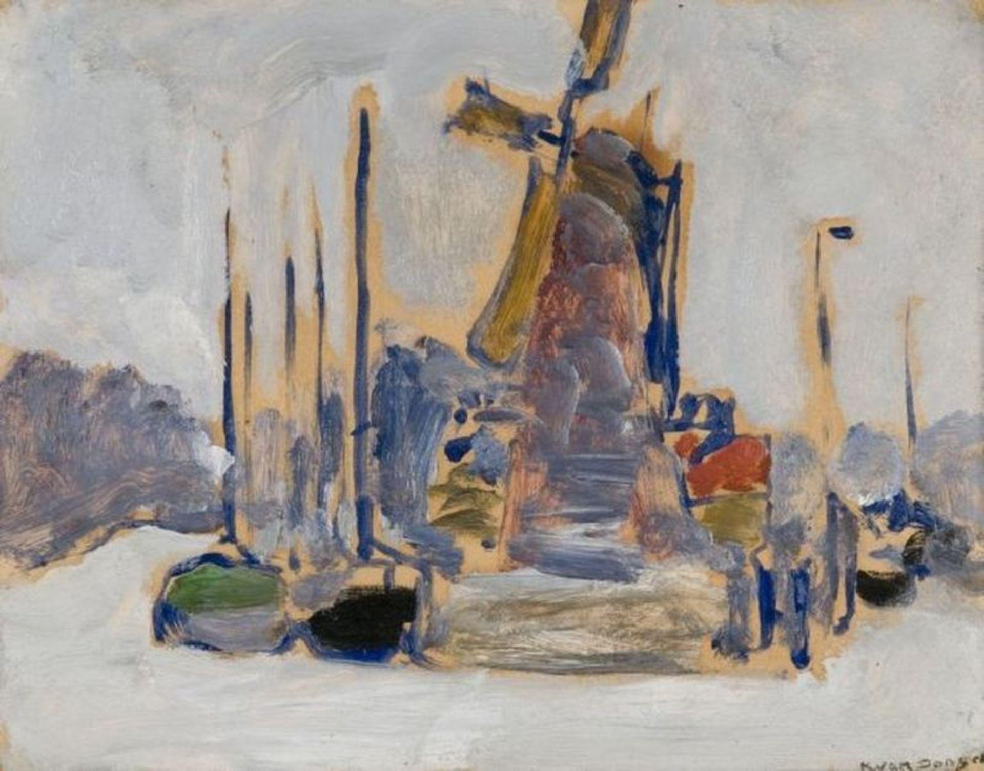 Los 526 - KEES VAN DONGEN (1877-1968) Bateaux à quai (Boats at dock) - Signed 'K. Van [...]