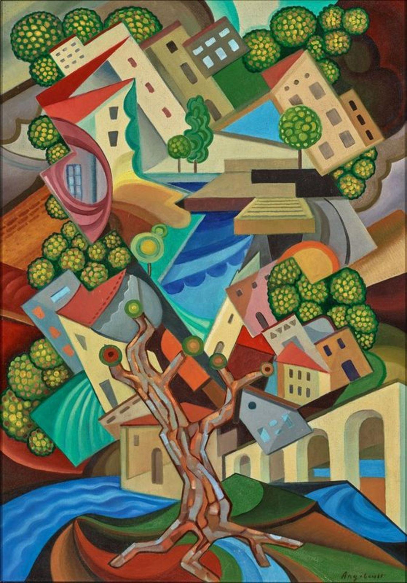 Los 533 - François Angiboult (Hélène d' Œttingen) (1887-1950) Untitled (cubist city) - [...]