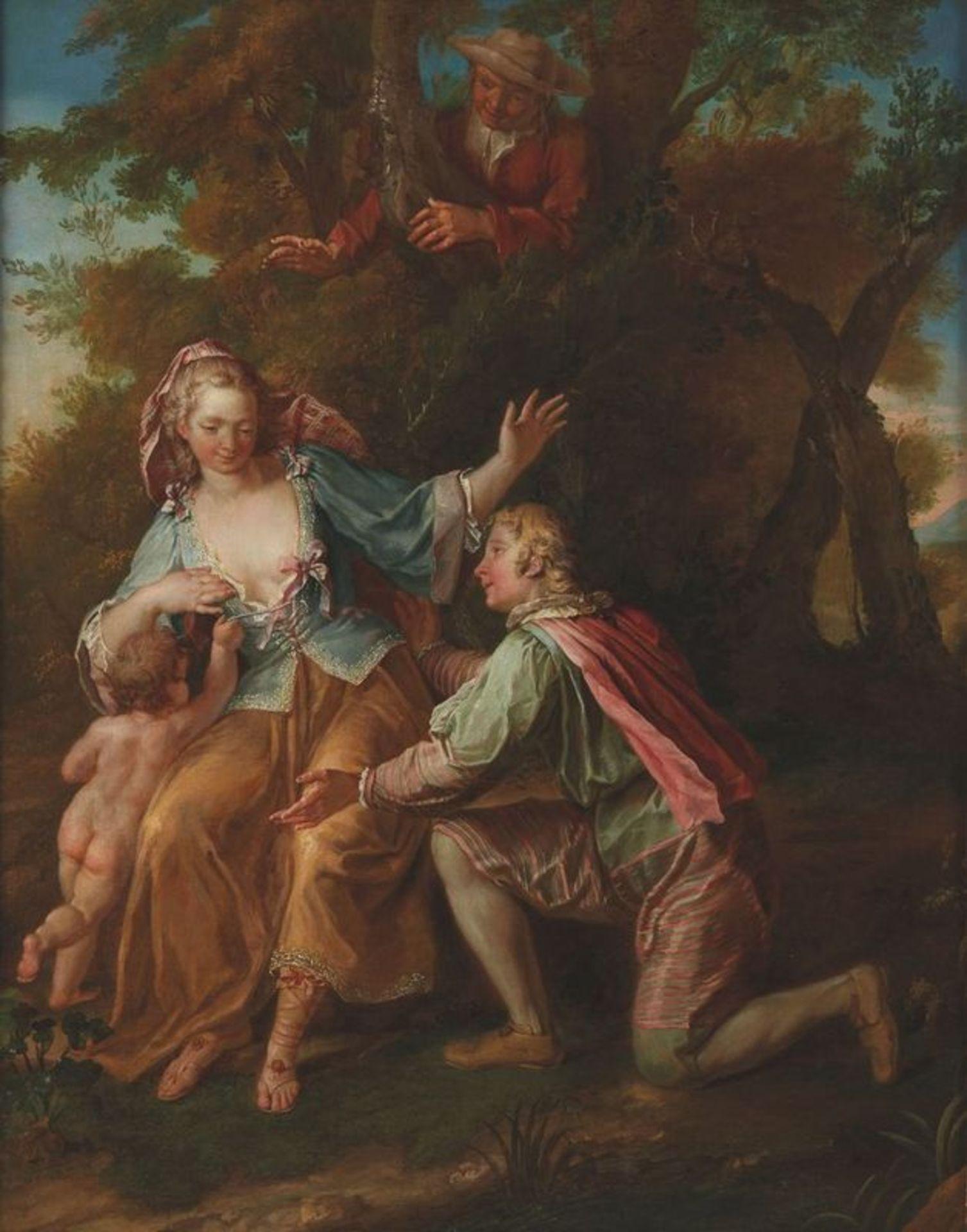 Los 577 - Samuel Masse (1672-1753) Galant scene - Oil on canvas 79 x 63 cm Painted circa [...]