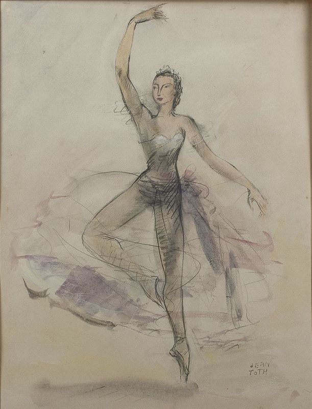 Jean Toth (1899-1972) Ballet dancers (4 watercolours) - Signed (lower left or lower [...]