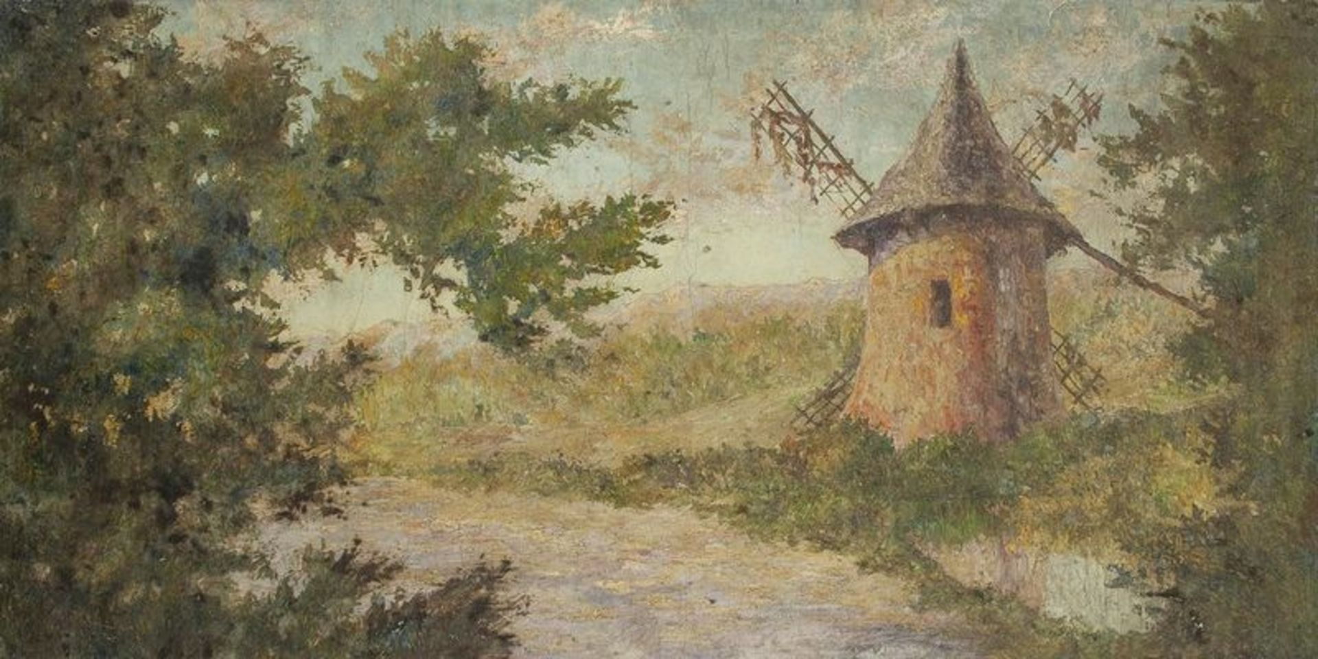 French school, XX century Le moulin - Signed 'Balande' (lower left) Oil [...]