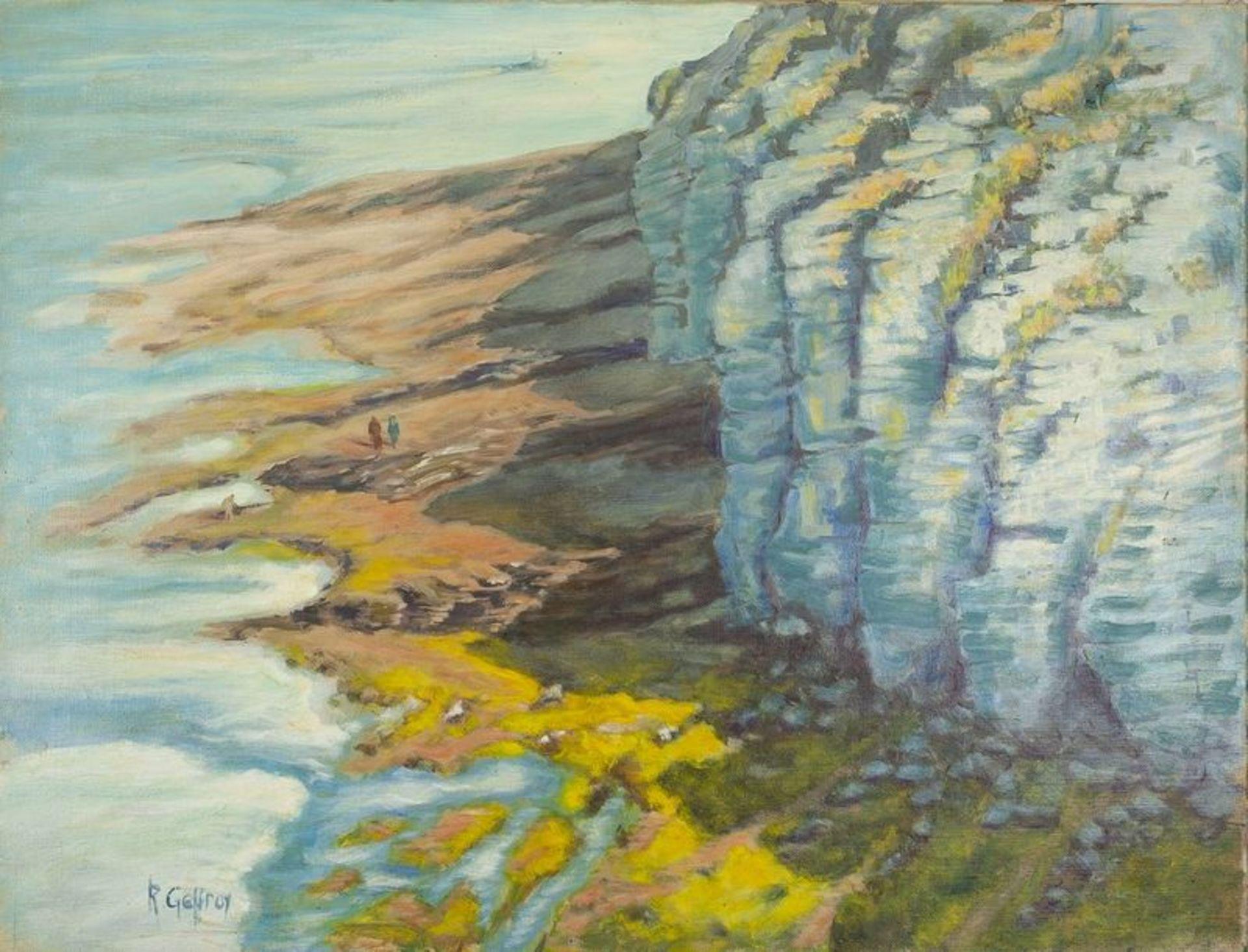 Los 599 - R. GEFFROY Sea shore - Signed 'R Geffroy' (lower left) Oil on canvas 51 x 65.5 [...]