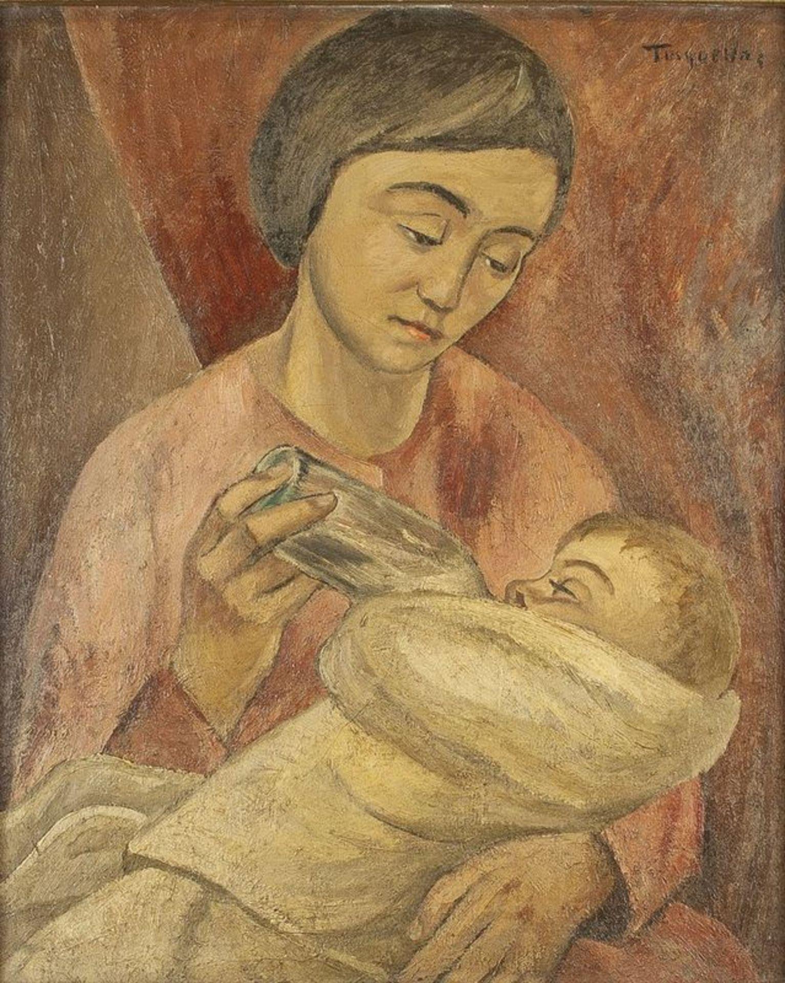 Los 595 - MIGUEL TUSQUELLAS CORBELLA (1884-1969) Maternité au biberon - Titled 'Tusquellas' [...]