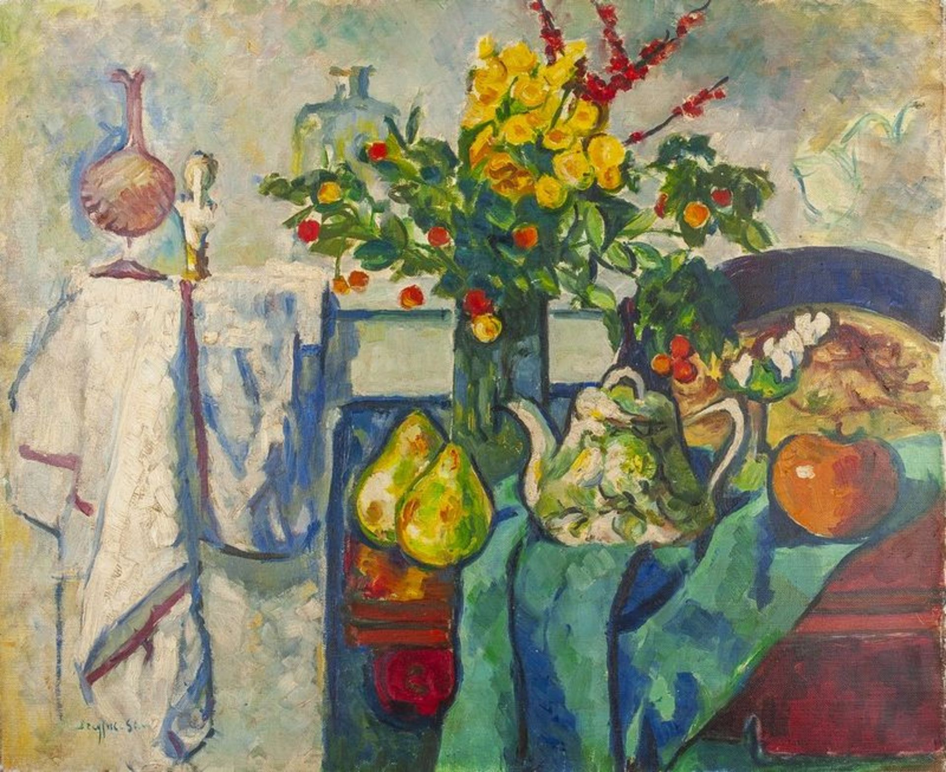 Los 609 - JEAN DREYFUS-STERN (1890-1980) Still life with apple and pears - Signed 'Dreyfus [...]