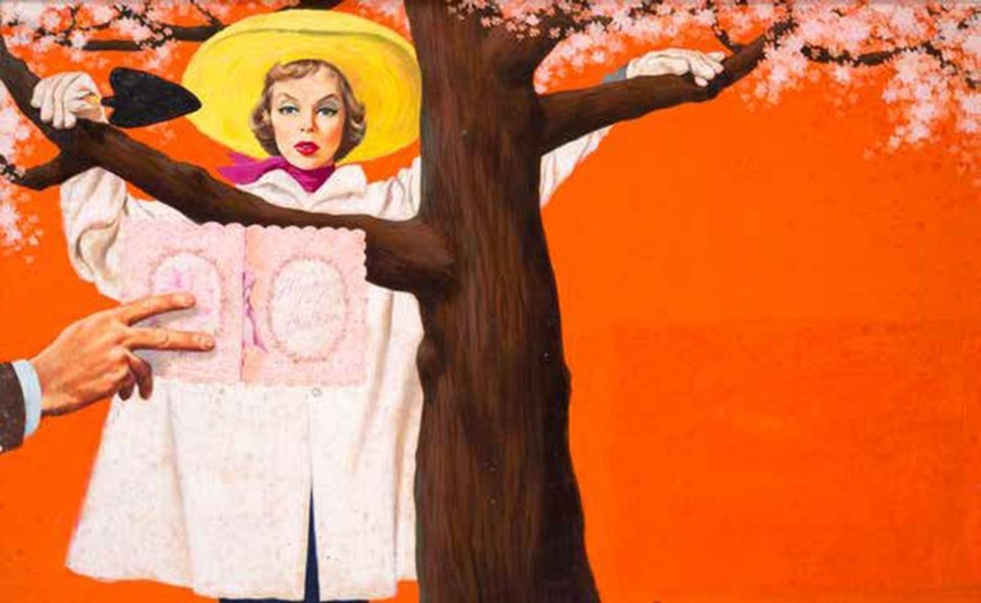 """Los 550 - FREDERIC VARADY (1908-2002) Story illustration. """"Girl under apple tree with [...]"""