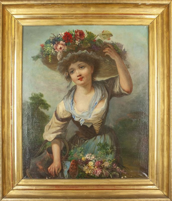 """Jackson Young girl with watering can and flower hat - Signed """"Jackson"""" (lower [...] - Bild 2 aus 2"""