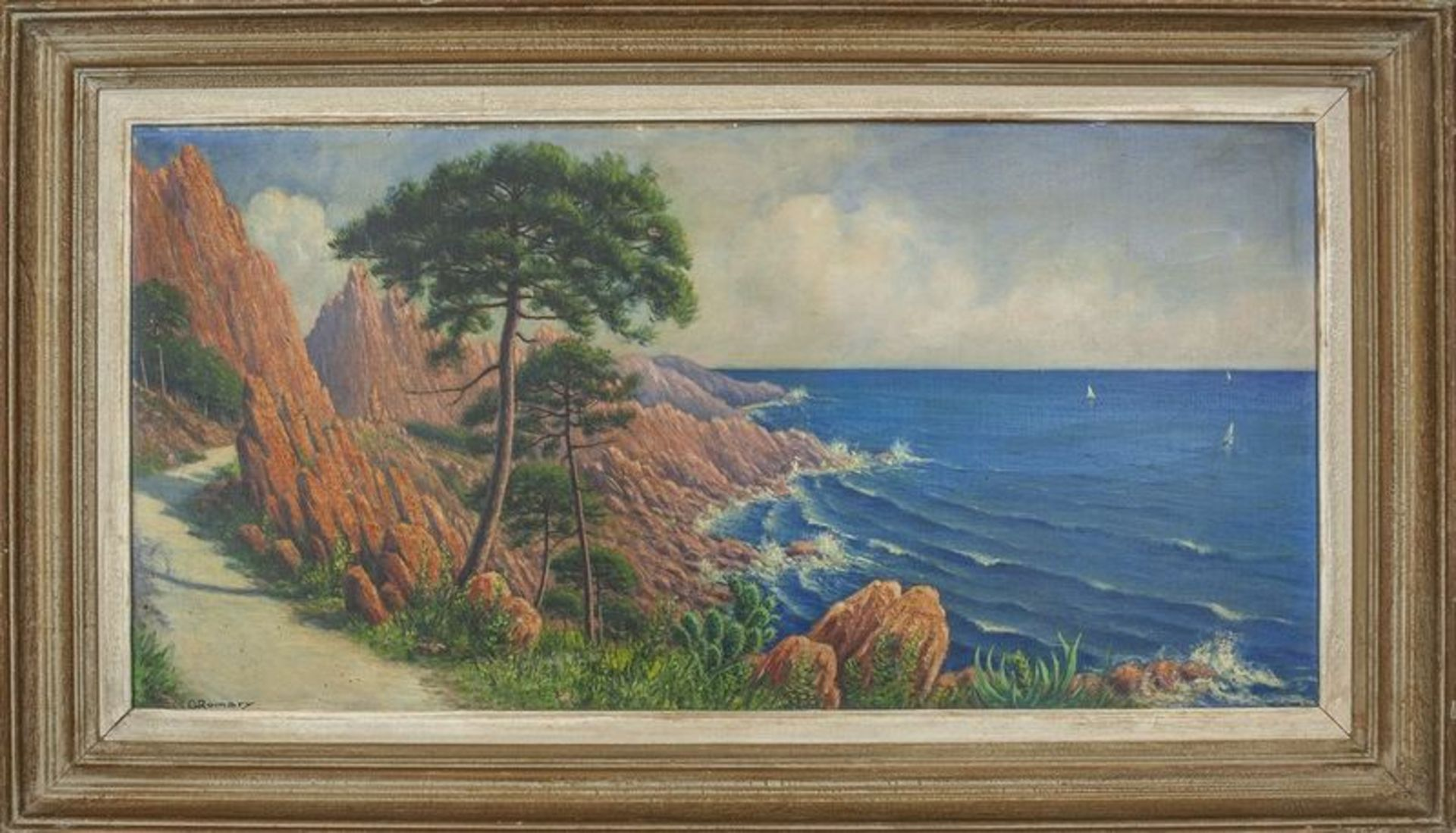 Los 598 - G. ROMARY Red Rocks of Cote d'Azur - Signed 'G Romary' (lower left) Oil on [...]