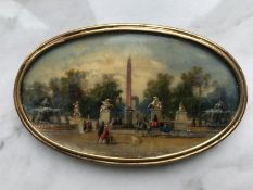 Entrance to the park from the Concord square in front of the Louvre Miniature, late [...]