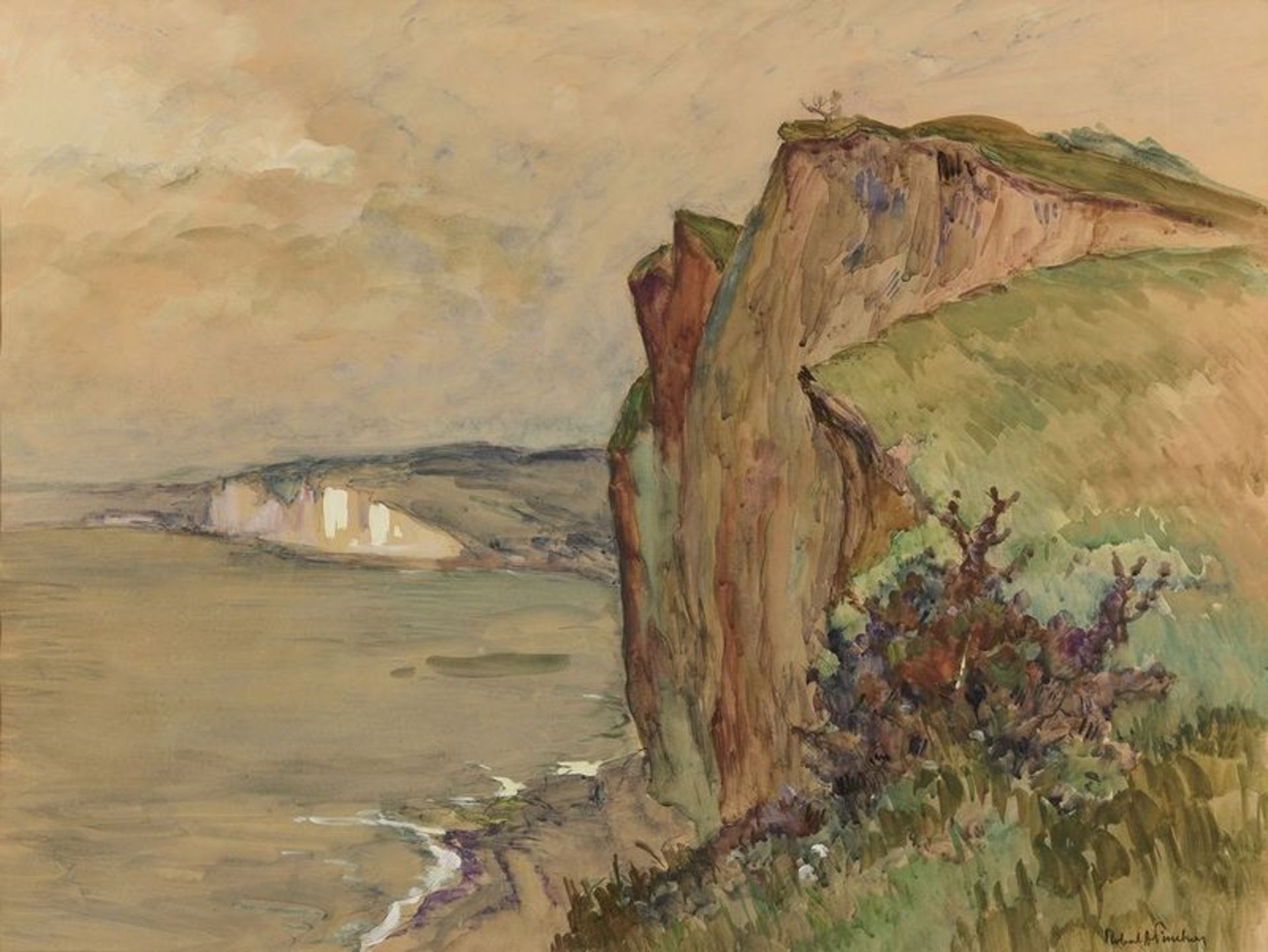 Los 515 - ROBERT ANTOINE PINCHON (1886-1943) Falaises a Varengeville - Watercolour on [...]
