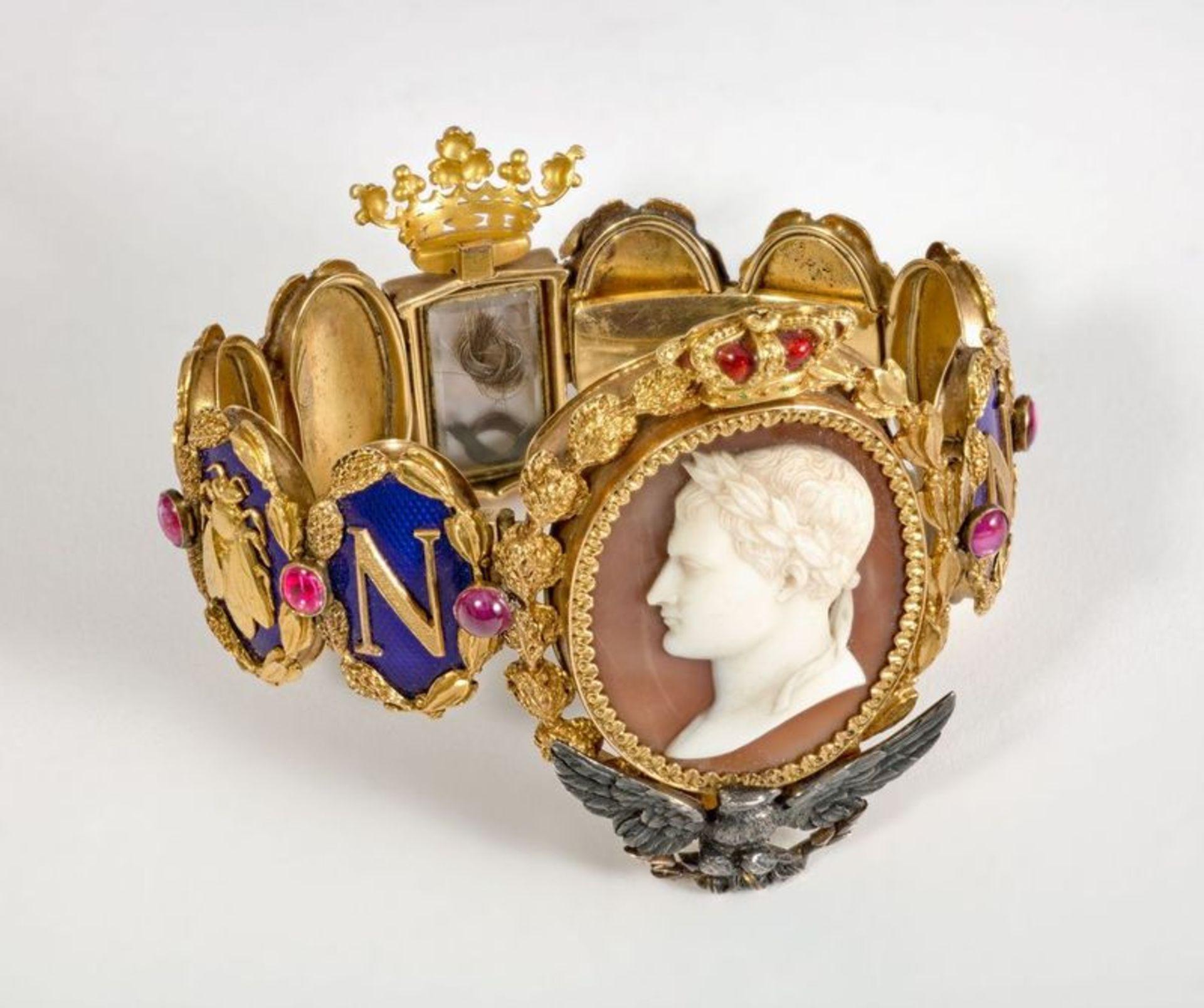 NAPOLEON PRESENTATION BRACELET TO LAS CASES UNIQUE GOLD, BLUE ENAMEL AND GEMSTONE [...] - Bild 3 aus 3