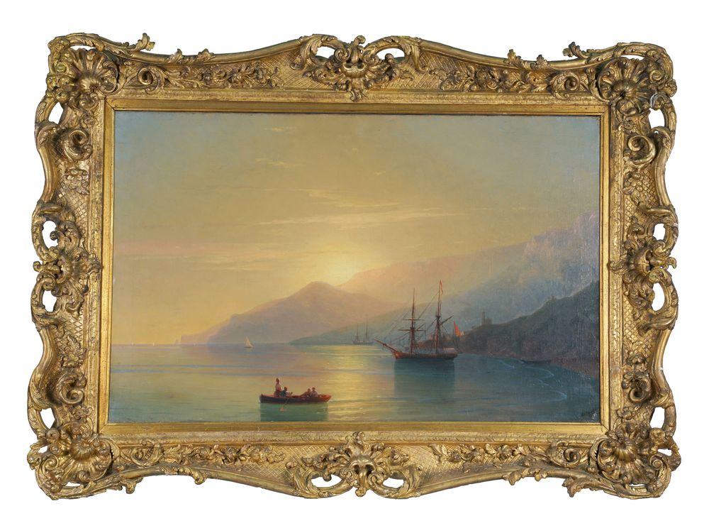 IVAN AIVAZOVSKY (1817-1900), The Turkish Coast at Sunset signed in Cyrillic and dated [...] - Image 2 of 4