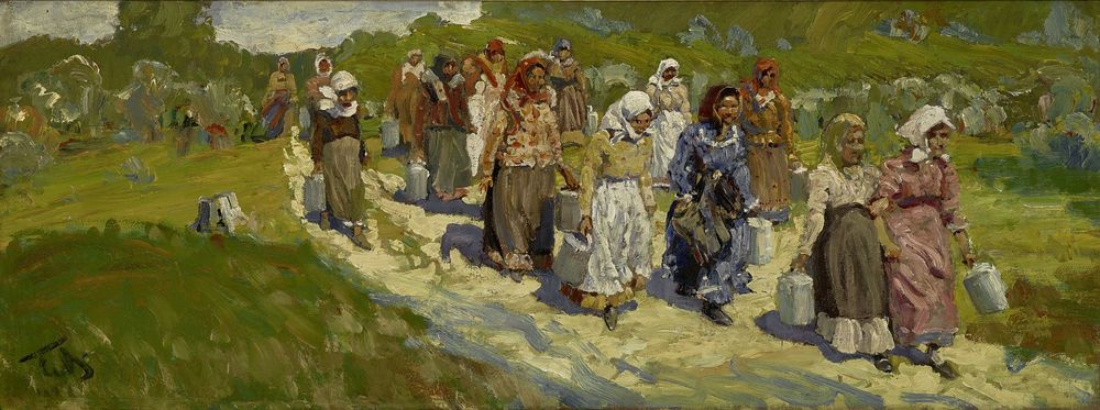 MALIUTIN SERGEY (1859-1937), Gathering of women signed with initials 'CM' (lower [...]