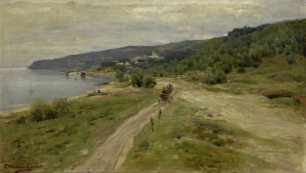 ALEXEI STEPANOV, Coastal road on the Black sea signed in Cyrillic (lower left) oil on [...]