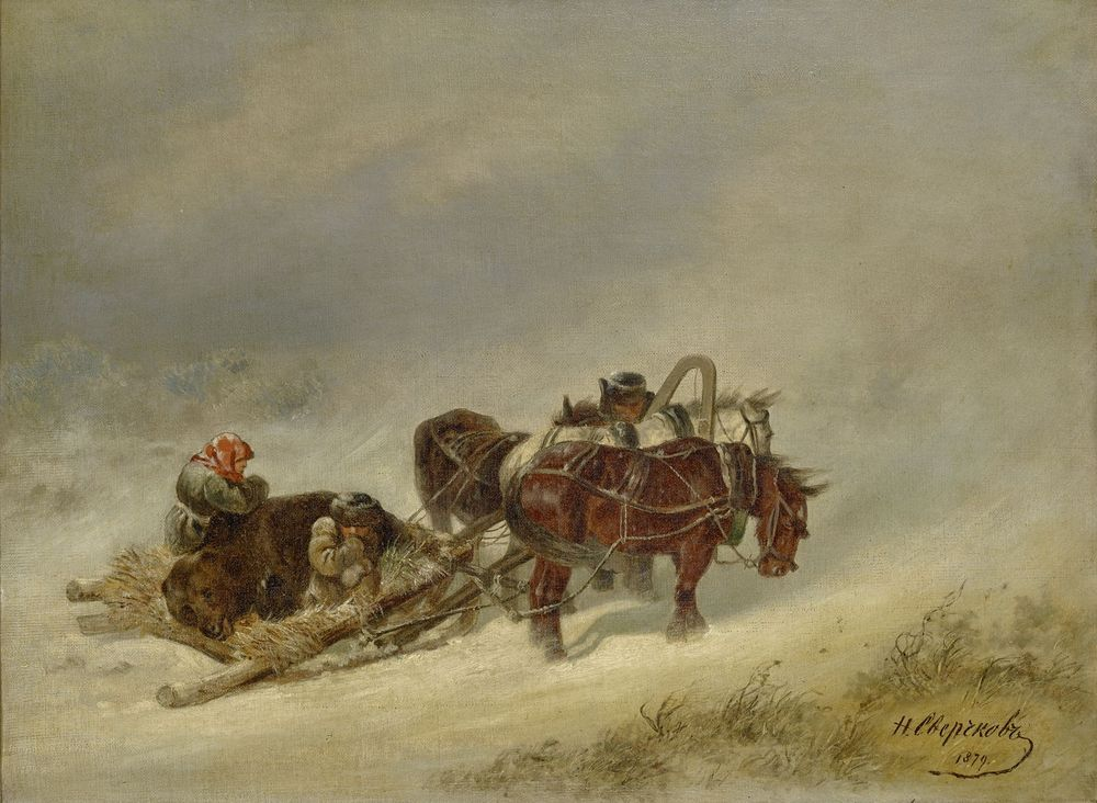 NIKOLAY SVERCHKOV (1817 - 1898), Bear Hunting signed and dated in Cyrillic '1879' [...]