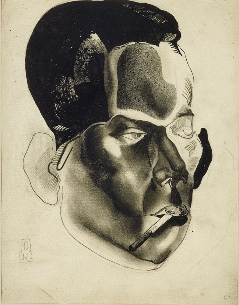YURI PIMENOV (1903-1977), Portrait of a man Signed with artist's monogram and [...]
