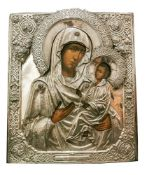 ICON IN A SILVER OKLAD «OUR LADY OF TIKHVIN»., Russia, the first half of the XVIII [...]