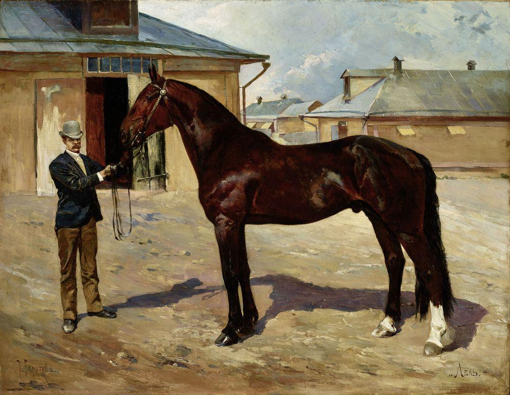 NIKOLAI SEMENOVICH SAMOKISH (1860-1944), Portrait of Lel, a racing stallion Signed in [...]