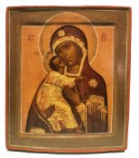 ICON «OUR LADY OF VLADIMIR»., Central Russia, XIX century. Wood (2 ark boards), [...]
