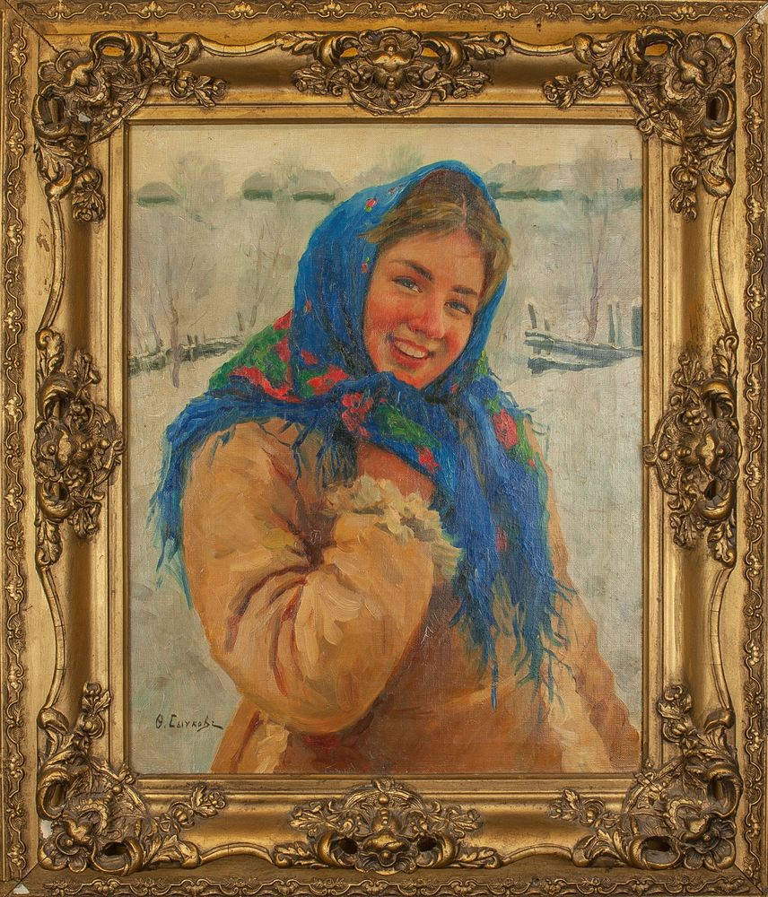 FEDOT VASILIEVICH SYCHKOV (1870-1958), Girl With Scarf Signed in Cyrillic 'Ф. [...] - Image 2 of 2