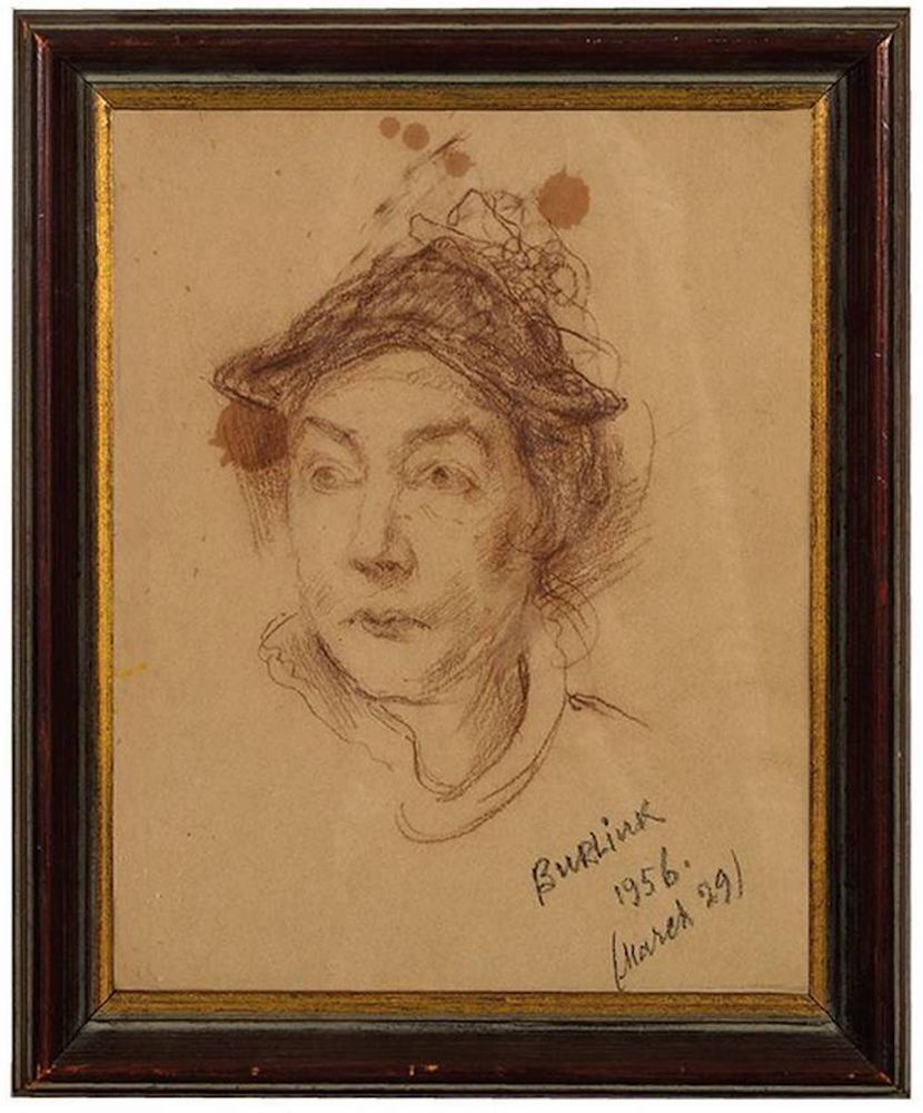 DAVID BURLIUK (1882-1967), Portrait of Marussia with hat (Wife of [...] - Image 2 of 2