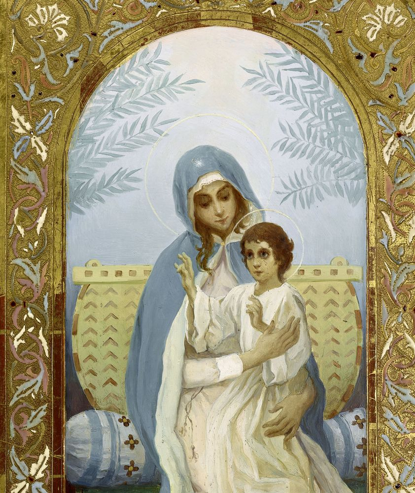 MIKHAIL NESTEROV (1862-1942), Virgin and a Child oil on panel 44.6 x 22.1 [...] - Image 3 of 3