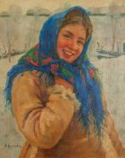 FEDOT VASILIEVICH SYCHKOV (1870-1958), Girl With Scarf Signed in Cyrillic 'Ф. [...]
